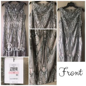 Classy Calvin & Klein Hand Sequined Silver Dress